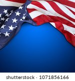 american flag on blue background | Shutterstock . vector #1071856166