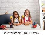 little girls eat apple at lunch ... | Shutterstock . vector #1071859622