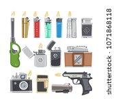 lighter vector cigarette... | Shutterstock .eps vector #1071868118