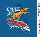 dinosaurs surf vector graphic | Shutterstock .eps vector #1071871406