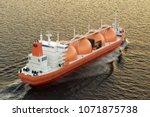 gas carrier  gas tanker sailing ... | Shutterstock . vector #1071875738