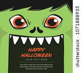 monster face halloween... | Shutterstock .eps vector #1071888935