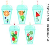 set of coctails isolated on... | Shutterstock .eps vector #1071891512