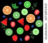 set of fruits isolated on black ...   Shutterstock .eps vector #1071891515