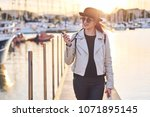 pretty young woman blogger in... | Shutterstock . vector #1071895145