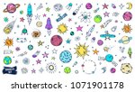 space doodles set. astronomy.... | Shutterstock .eps vector #1071901178
