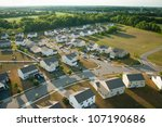 flying low over a suburb | Shutterstock . vector #107190686