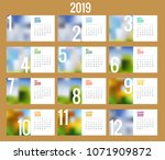 vector calendar for 2019 year.... | Shutterstock .eps vector #1071909872