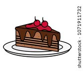 dish with delicious cake portion | Shutterstock .eps vector #1071911732