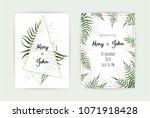 wedding invitation with green...   Shutterstock .eps vector #1071918428