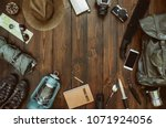 hiking gear frame including... | Shutterstock . vector #1071924056