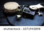 spa products with soap. oil... | Shutterstock . vector #1071943898