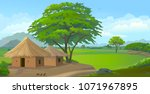 farm huts in the middle of the... | Shutterstock .eps vector #1071967895
