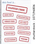 Rubber stamps of allergy products, such as gluten, dairy and sugar free - stock photo