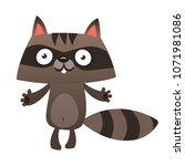 funny cartoon raccoon. vector... | Shutterstock .eps vector #1071981086