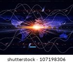 Backdrop composed of lights, numbers, grids and satellite imagery (courtesy of NASA) and suitable for use in the projects on science, global computing and communication technologies - stock photo