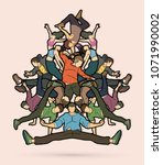 group of people dancing  street ... | Shutterstock .eps vector #1071990002