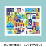 city map abstract. town... | Shutterstock .eps vector #1071990506