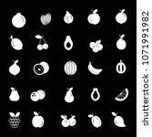 fruit white silhouette icons... | Shutterstock .eps vector #1071991982