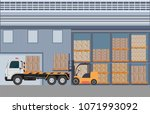 workers man loading the truck...   Shutterstock .eps vector #1071993092