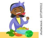 happy african american woman...   Shutterstock .eps vector #1071993512