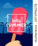hello summer banner with ice... | Shutterstock .eps vector #1071996278