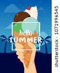 hello summer banner with ice... | Shutterstock .eps vector #1071996545