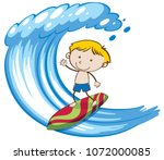 a boy surfing on big wave... | Shutterstock .eps vector #1072000085