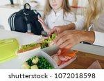mom preparing school snack or... | Shutterstock . vector #1072018598