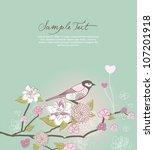 lovely bird and flower... | Shutterstock .eps vector #107201918