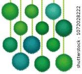 set of 10 cute green birthday... | Shutterstock .eps vector #1072028222