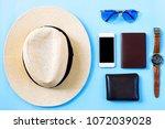 top view summer travel planning ...   Shutterstock . vector #1072039028