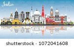 india city skyline with color... | Shutterstock . vector #1072041608