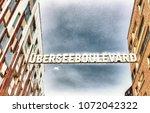 uberseeboulevard in hafencity... | Shutterstock . vector #1072042322