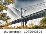 manhattan bridge view from...   Shutterstock . vector #1072043906