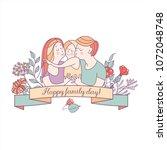 happy family. vector... | Shutterstock .eps vector #1072048748