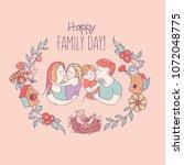 happy family. vector... | Shutterstock .eps vector #1072048775