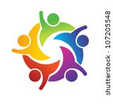 vector teamwork hi 5 | Shutterstock .eps vector #107205548