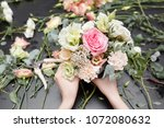 master class on making bouquets.... | Shutterstock . vector #1072080632