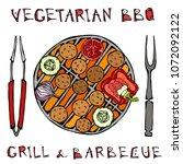 falafel vegetarian bbq grill ...   Shutterstock .eps vector #1072092122