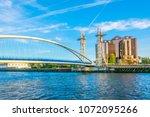 view of a footbridge in salford ... | Shutterstock . vector #1072095266