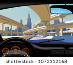 view from inside the car on the ... | Shutterstock . vector #1072112168