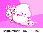 silhouette of a mother in paper ... | Shutterstock .eps vector #1072113452
