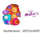 silhouette of a mother in paper ... | Shutterstock .eps vector #1072113455