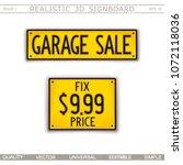 garage sale. fix price. 3d... | Shutterstock .eps vector #1072118036