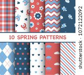 set of colorful spring patterns | Shutterstock .eps vector #1072122092