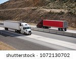 powerful bonnet big rig semi... | Shutterstock . vector #1072130702