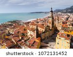 menton  old city houses and sea ... | Shutterstock . vector #1072131452