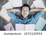 top view of relaxed young asian ... | Shutterstock . vector #1072135955