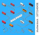 rail road isometric flowchart... | Shutterstock .eps vector #1072140458
